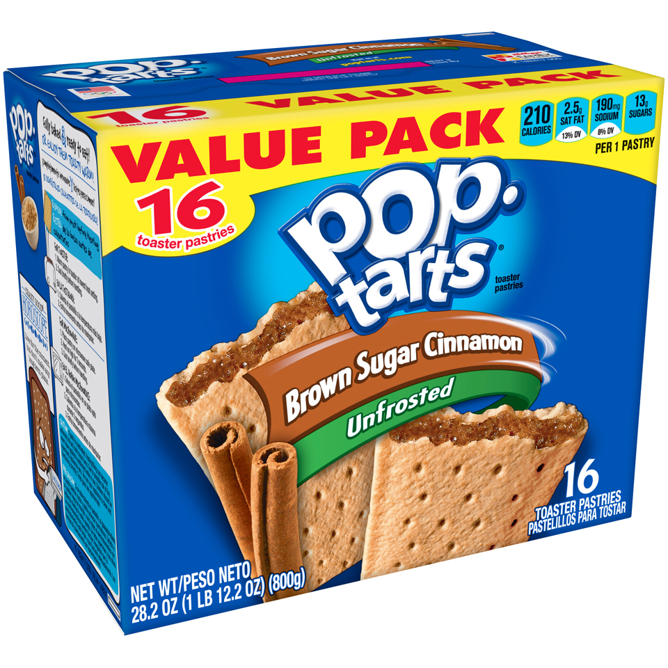 (2 Pack) Kellogg's Pop-Tarts Unfrosted Brown Sugar Cinnamon Toaster Pastries 16 ct