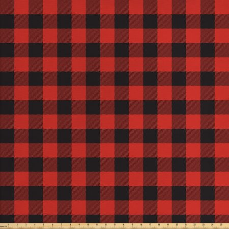Plaid Fabric by The Yard, Lumberjack Fashion Buffalo Style Checks Pattern Retro Style with Grid Composition, Decorative Fabric for Upholstery and Home Accents, by Ambesonne ()