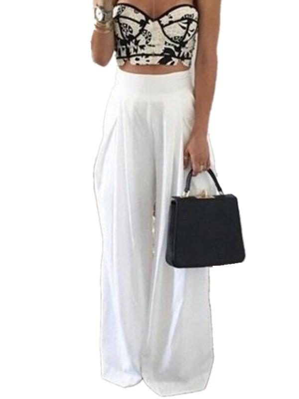 Women's Fashion Chiffon Zipper High Waist Wide Leg Pants
