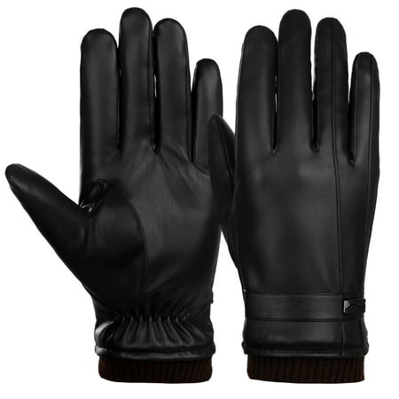 Mens Winter Leather Gloves-Allcaca Mens Winter Leather Gloves Touchscreen PU Leather Gloves Warm Lined Driving Gloves Motorcycle