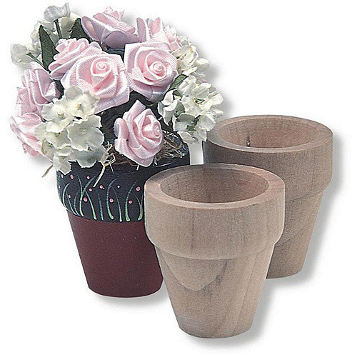 Unfinished Mini Wooden Flower Pot, Pack of 12