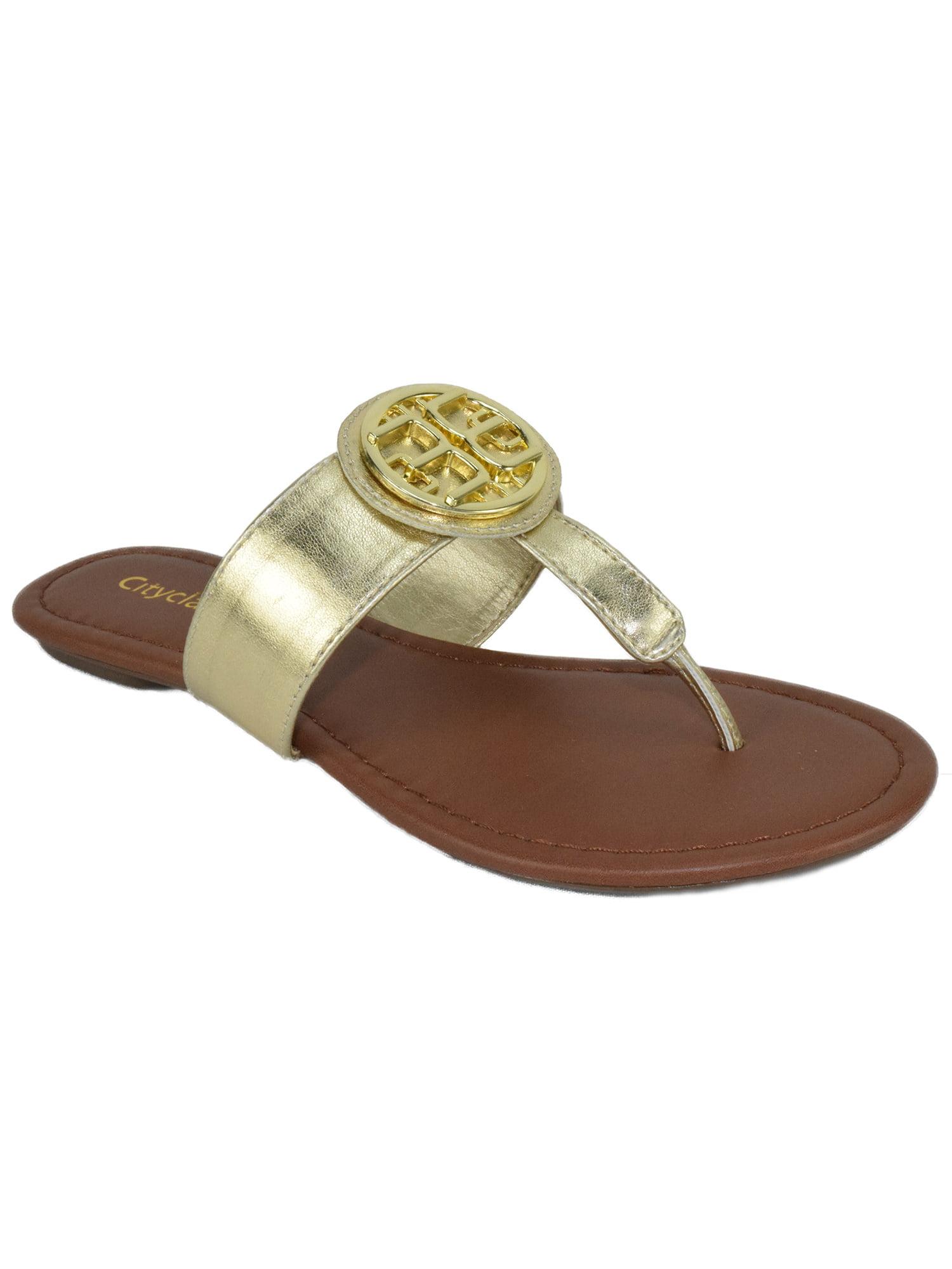 Newton Basic Thongs Flip Flops City Medallion Classified Shoes Women Gold Medallion City Flat Summer Sandals Black Patent 91fcd0