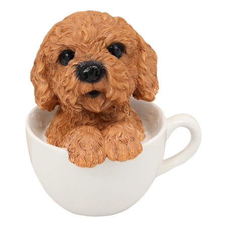 """Ebros Realistic Adorable Brown Poodle Dog Teacup Statue 5.75"""" Tall Pet Pal Dog Breed Collectible Resin Decor Figurine Tea Cup Dogs Poodles"""