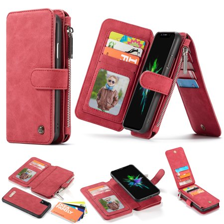 cheap for discount 508a0 c7e22 iPhone Xr Zipper Wallet Case,iPhone Xr Purse Case,Allytech [14 Card Slots]  Folio Flip Genuine Leather Magnetic Detachable Slim Stand Case with Zipper  ...