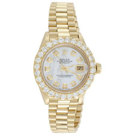 Pre-Owned Rolex 18K Gold President 26mm DateJust 69178 VS Diamond White MOP Watch 2.08 CT.