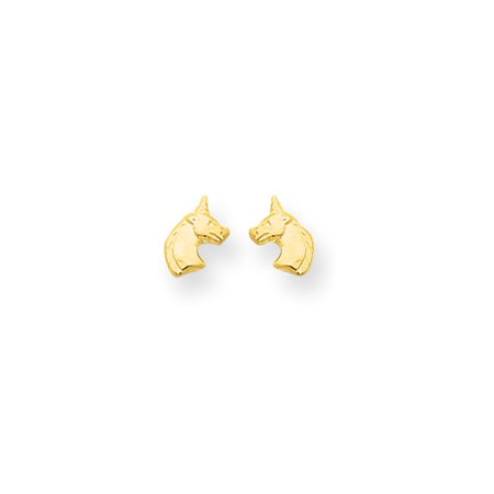 Kids Unicorn Screw Back Post Earrings in 14k Yellow Gold