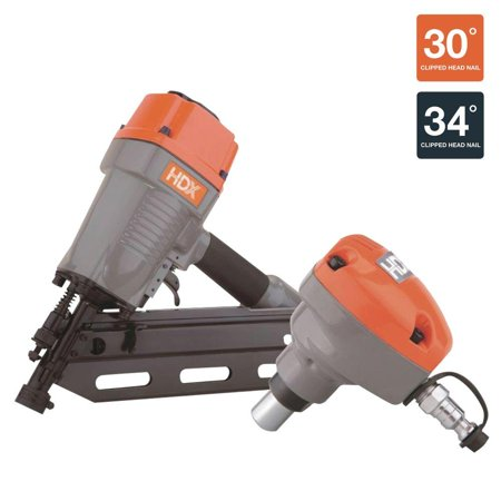 HDX Pneumatic 34 Degree Framing Nailer W/ Palm Nailer Air ...