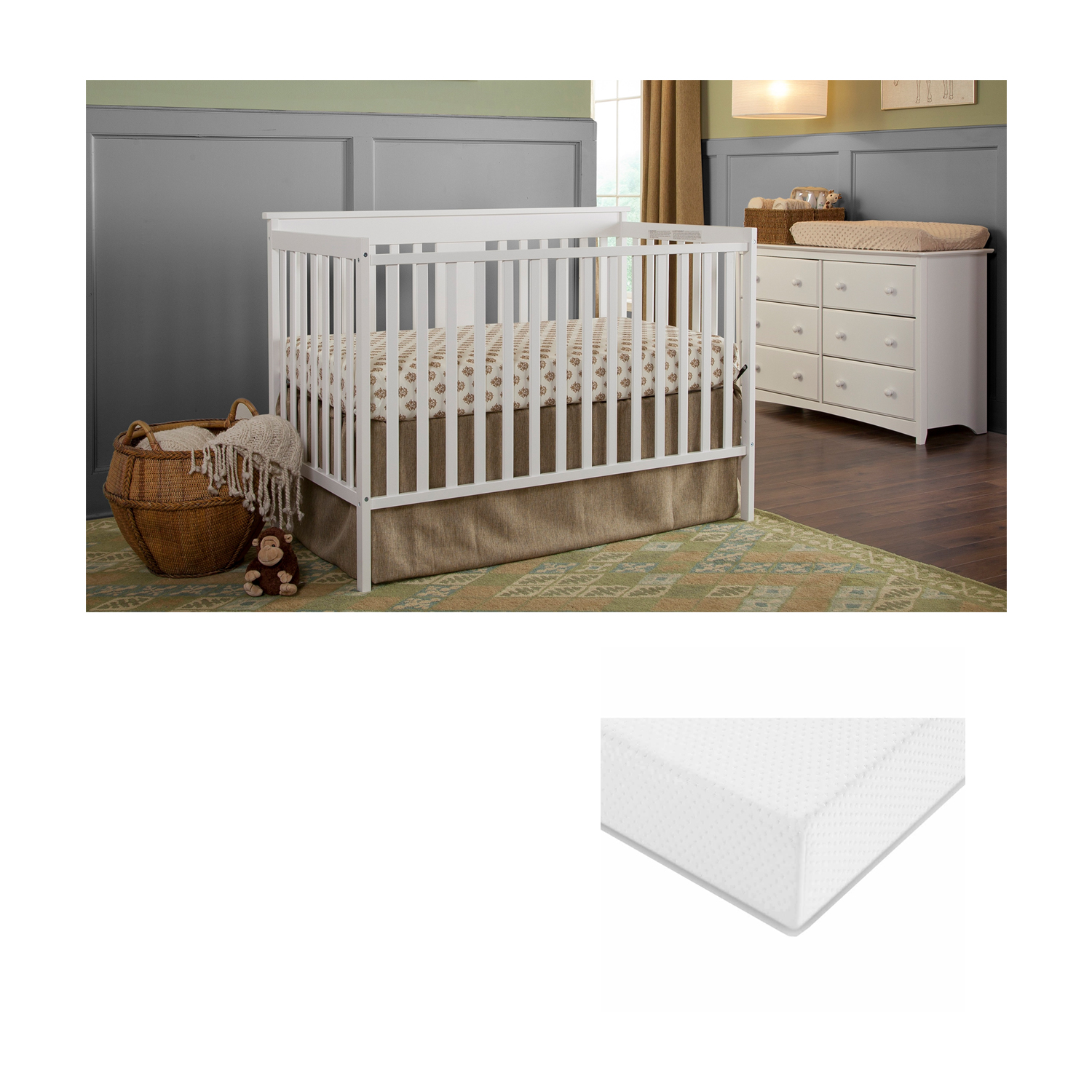 Storkcraft Sheffield II 4 in 1 Convertible Crib with BONUS Graco Premium Mattress