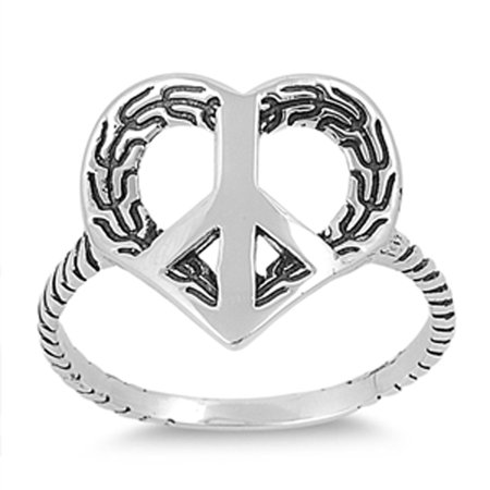 Peace Sign Heart Promise Hippie Ring ( Sizes 5 6 7 8 9 ) New .925 Sterling Silver Band Rings by Sac Silver (Size 5)