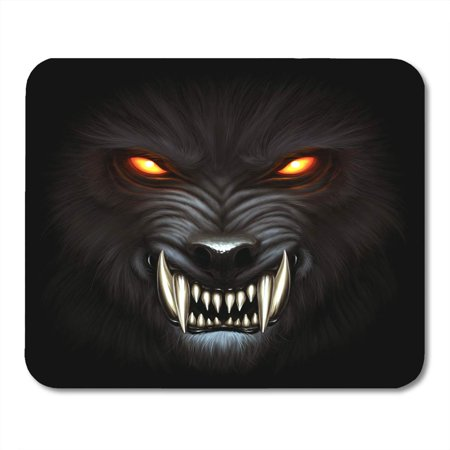 SIDONKU Fantasy Angry Werewolf Face in Darkness Digital Painting Wolf Beast Mousepad Mouse Pad Mouse Mat 9x10 inch (Angry Face Painting)