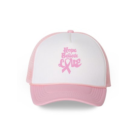Awkward Styles Hope Believe Love Trucker Hat Breast Cancer Awareness Gifts for Men and Women Pink Ribbon Snapback Hat Cancer Support Ribbon Baseball Hat Gifts for Cancer Survivor Cancer Support (Cancer Awareness Trucker Hat)