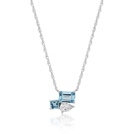 Sterling Silver Octagon Treated Sky Blue Topaz / Treated Swiss Blue Topaz And White Topaz Necklace Genuine Swiss Blue Topaz Necklace
