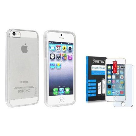Insten Crystal Clear Soft Rubber TPU Skin Cover Case+Tempered Glass Film for iPhone 5 - Crystal Clear Skin Halloween