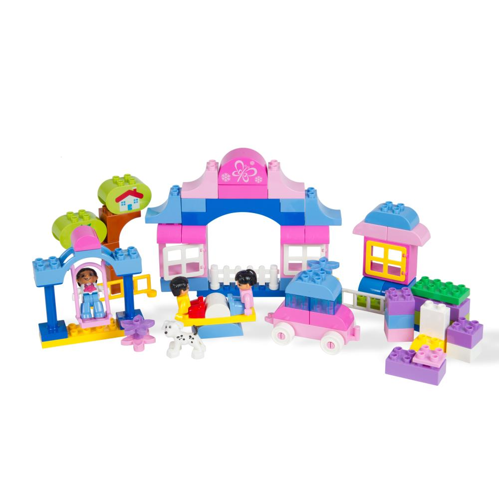 80 Piece Outdoor Playground Themed Building Bricks Set with Girl and Boy Mini Figures and Assorted Shapes by Dimple