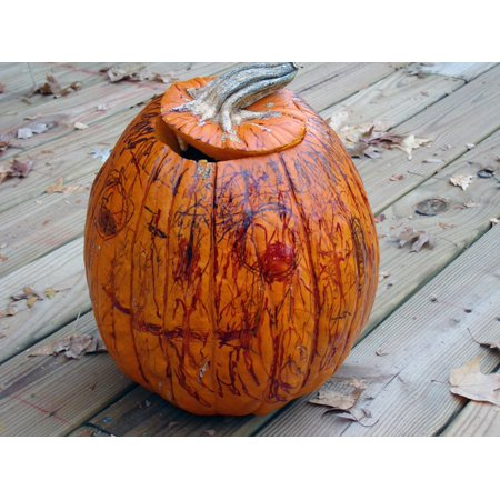 Canvas Print Pumpkin Decorated Arts and Crafts Halloween Stretched Canvas 10 x 14](Halloween Pumpkin Art And Craft)