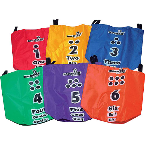 Sportime Numbered Tri-Lingual Flat Bottom Hop Sack, Set of 6