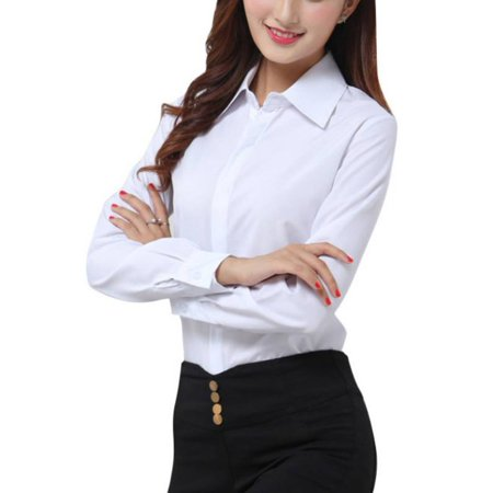 OUMY Women Casual Button Down Office Lady Shirt Blouse (2 Button Down Shirt)