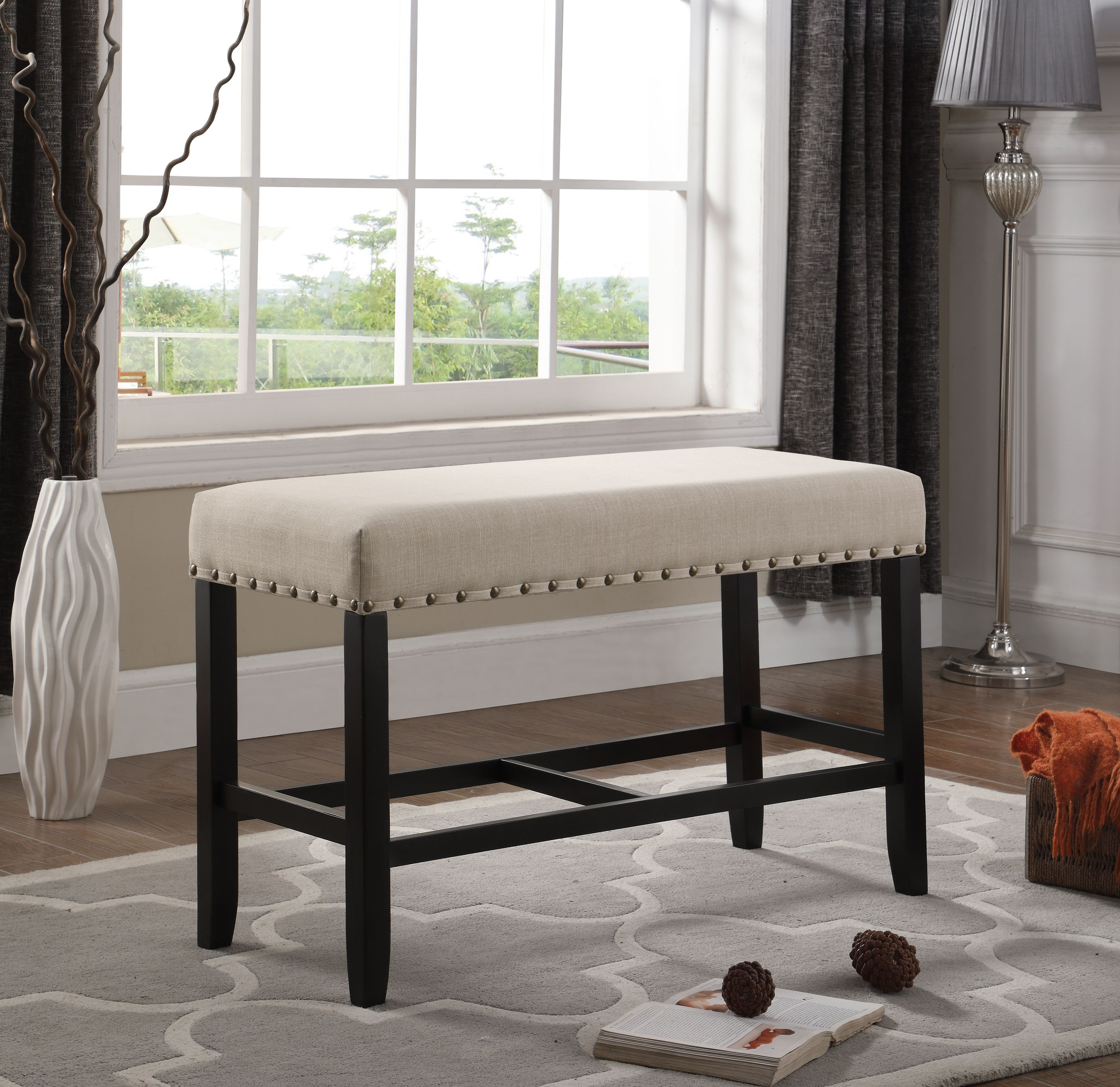 Roundhill Biony Tan Fabric Counter Height Dining Bench with Nailhead Trim