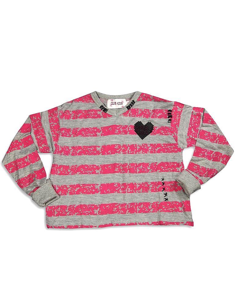 Celeb Kids - Little Girls Long Sleeve Crop Striped Top MULTICOLOURED / 4T