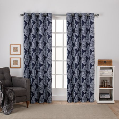 Exclusive Home Queensland Printed Medallion Sateen Woven Room Darkening Grommet Top Window Curtain Panel Pair, Peacoat Blue, 52x84