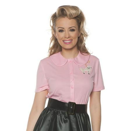 Pink 50S Poodle Womens Adult Sock Hop Dancer Costume Shirt](50s Sock Hop Fashion)