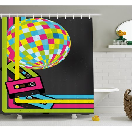 Popstar Party Shower Curtain, Retro Party Theme Disco Ball 80's Style Audio Cassette Tapes Colorful Stripes, Fabric Bathroom Set with Hooks, Multicolor, by Ambesonne - Disco Party Theme