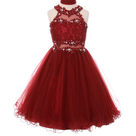 Little Girls Sparkle Rhinestones Halter Lace Junior Bridesmaid Pageant Flower Girl Dress Burgundy 4 (C50C40C)