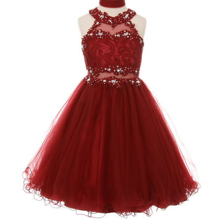 Sparkle Bridesmaid Dress - Little Girls Sparkle Rhinestones Halter Lace Junior Bridesmaid Pageant Flower Girl Dress Burgundy 4 (C50C40C)