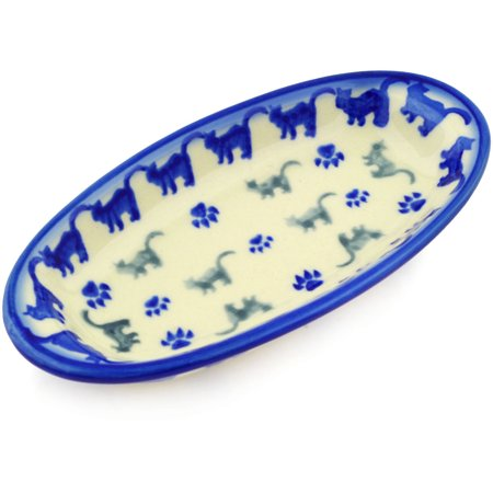 Pottery Leaf Dish - Polish Pottery 7¼-inch Condiment Dish (Boo Boo Kitty Paws Theme) Hand Painted in Boleslawiec, Poland + Certificate of Authenticity