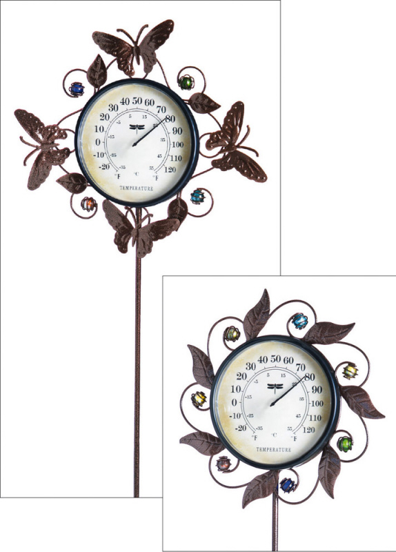 Decorative Garden Stake Thermometer, 2 Assorted , Butterfly & Leaves by EVERGREEN ENTERPRISES
