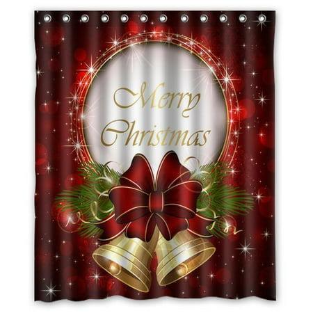 GreenDecor Merry Christmas Waterproof Shower Curtain Set ...