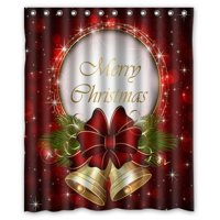 Product Image GreenDecor Merry Christmas Waterproof Shower Curtain Set With Hooks Bathroom Accessories Size 60x72 Inches