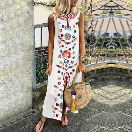 Fashion Womens Sleeveless Boho Floral Casual Cotton Linen Kaftan Long Maxi Dress Beach Sundress](1920 Fashion Dresses)