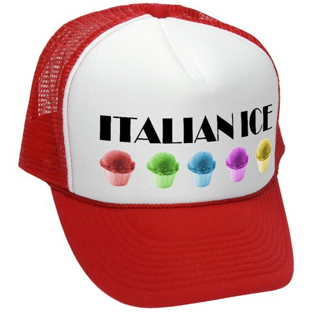 ITALIAN ICE - funny concession stand fair - Adult Trucker Cap Hat, Red](Italian Skimmer Hat)