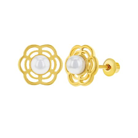 18k Gold Plated Flower White Simulated Pearl Screw Back Baby Earrings 3mm