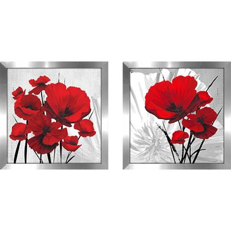 Latitude Run 'Big Red Poppies' 2 Piece Framed Painting Print - Poppies Frame Mount