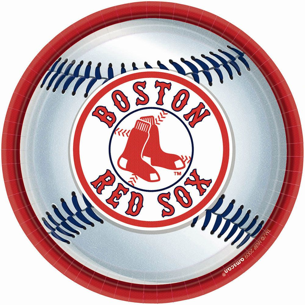 "Red Sox Plates, 9"" (18 Pack) - Party Supplies"