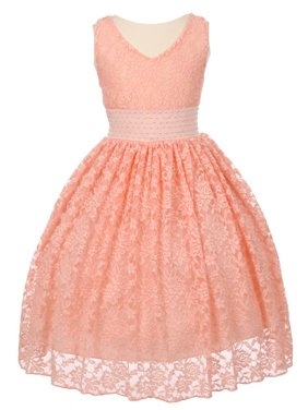 Little Girls Peach Heavy Spandex Lace Pearl Accented Flower Girl Dress 6