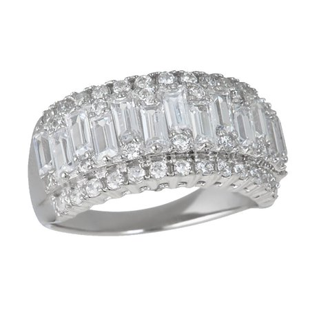 Sterling Silver Round & Baguette Cubic Zirconia Anniversary Band Sterling Silver Round Baguette