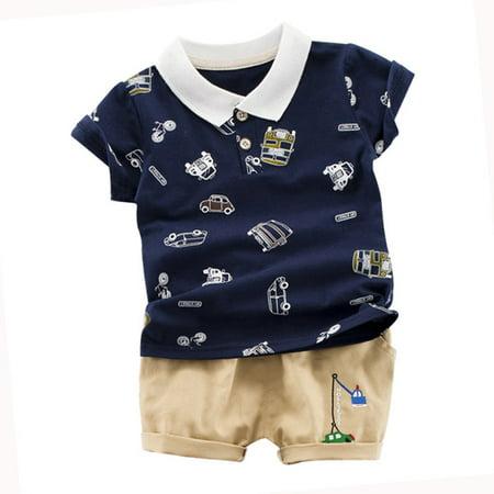2pcs Summer Children Boys Short Sleeve Cartoon Car Print Tops+Shorts Sets