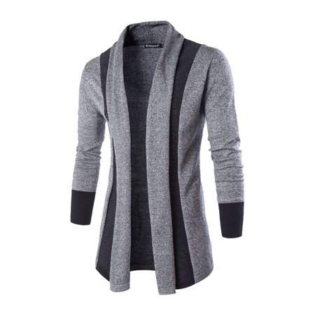 Men's Buttonless Shawl Collar Contrast Color Knit Cardigan