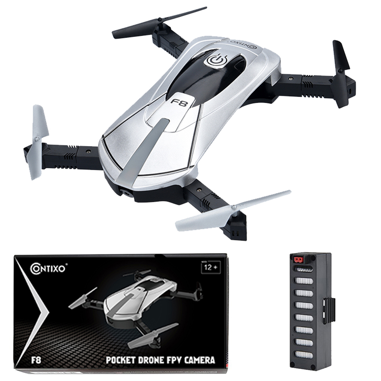 Contixo F8 Foldable Pocket Selfie Drone With Voice Controls, Altitude Hold, Wifi FPV... by Contixo