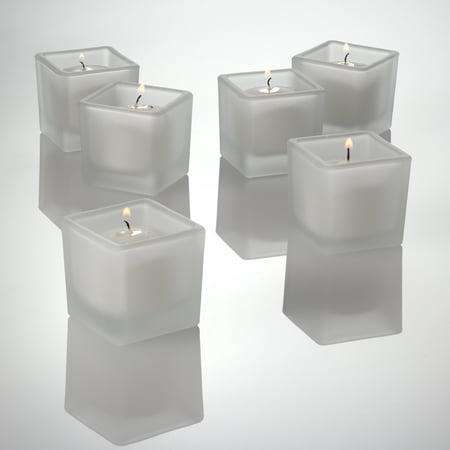 Richland Votive Candles & Eastland Frosted Square Votive Holders White Unscented Set of 12 Frosted Votive Candle Favors