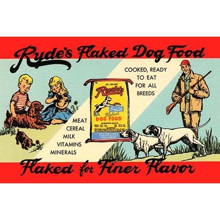 Super rare advertising linen postcard  Sent to promote Rydes flaked dog food for all breeds  Contains milk cereal meat vitamins and minerals Poster Print by Curt Teich