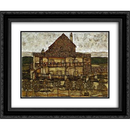Egon Schiele 2X Matted 24X20 Black Ornate Framed Art Print House With Shingles