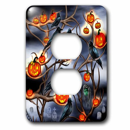 3dRose Mysterious Crows and Jack-o-Lanterns in tree branches on Halloween - 2 Plug Outlet Cover