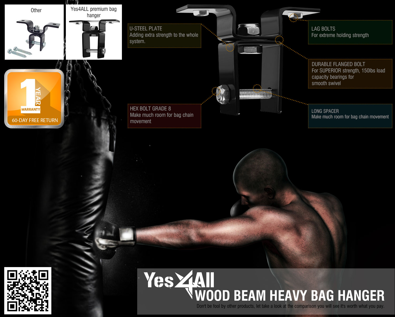 Swivel Chain Wood Beam Hanger Exersice Boxing MMA Training