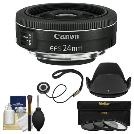 Canon EF-S 24mm f/2.8 STM Wide Angle Lens with 3 Filters + Hood + Kit for EOS 70D, 7D, Rebel T3, T3i, T4i, T5, T5i, SL1 DSLR