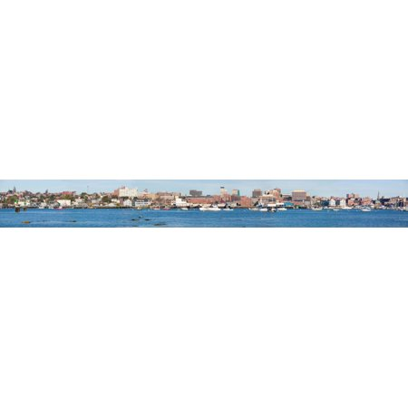 Panoramic view of Portland Harbor boats with south Portland skyline Portland Maine Stretched Canvas - Panoramic Images (44 x 6)