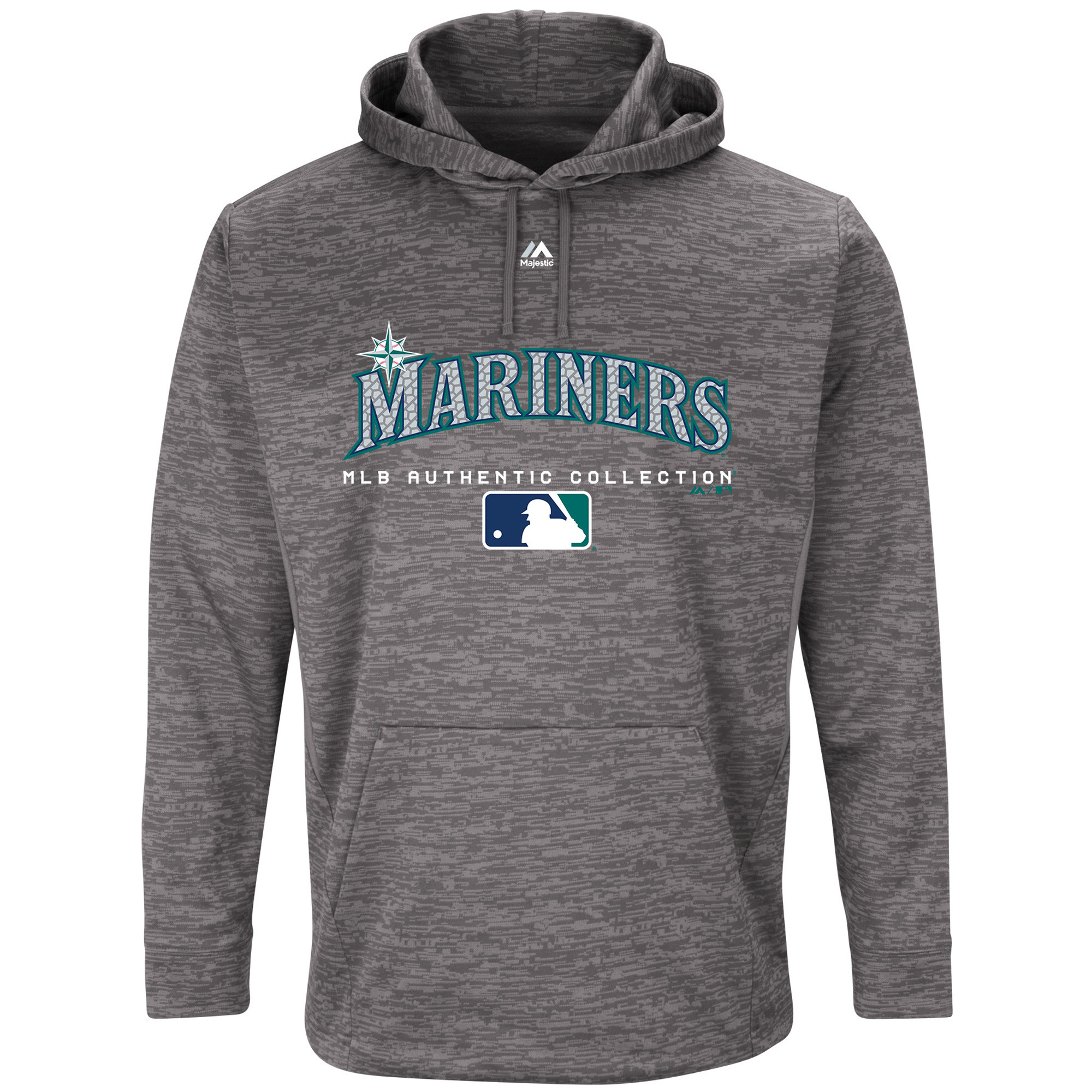 Seattle Mariners Majestic Authentic Collection Team Drive Ultra-Streak Fleece Pullover Hoodie - Graphite
